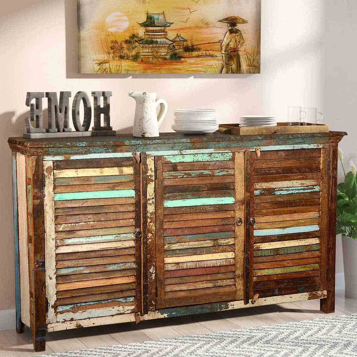 Rustic Reclaimed Wood Shutter Door Buffet Cabinet With Most Recently Released Reclaimed Wood Sideboards (View 9 of 15)