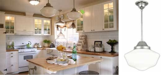 Schoolhouse Pendants In Old Cottage Kitchen | Blog For Most Recent Schoolhouse Pendant Lighting (#15 of 15)