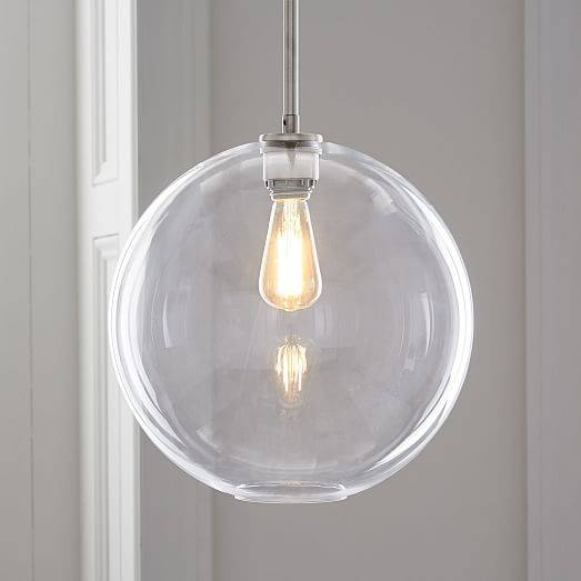 Sculptural Glass Globe Pendant – Clear | West Elm Inside Most Recently Released Clear Globe Pendant Lights (#14 of 15)