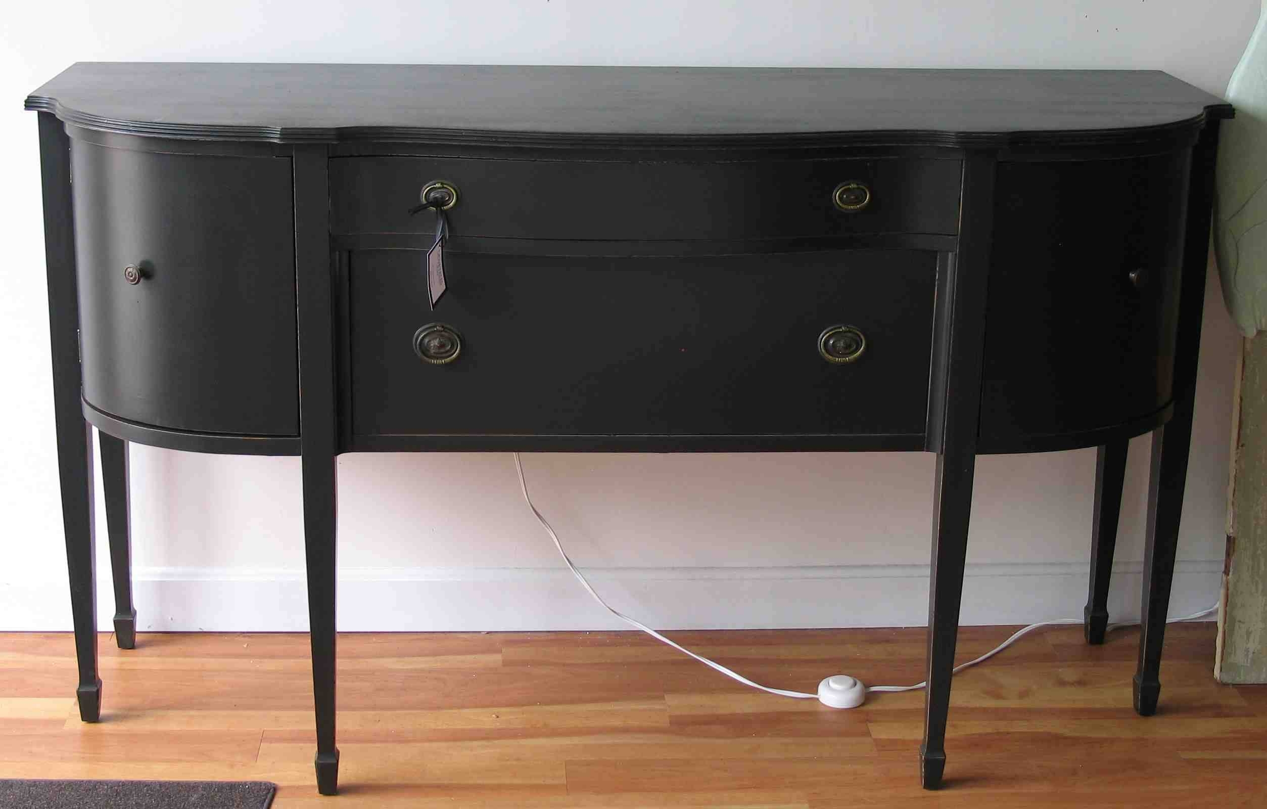 Semi Oval Black Wooden Table With Storage And Drawers Plus Long Inside Current Black Sideboard Cabinets (#10 of 15)