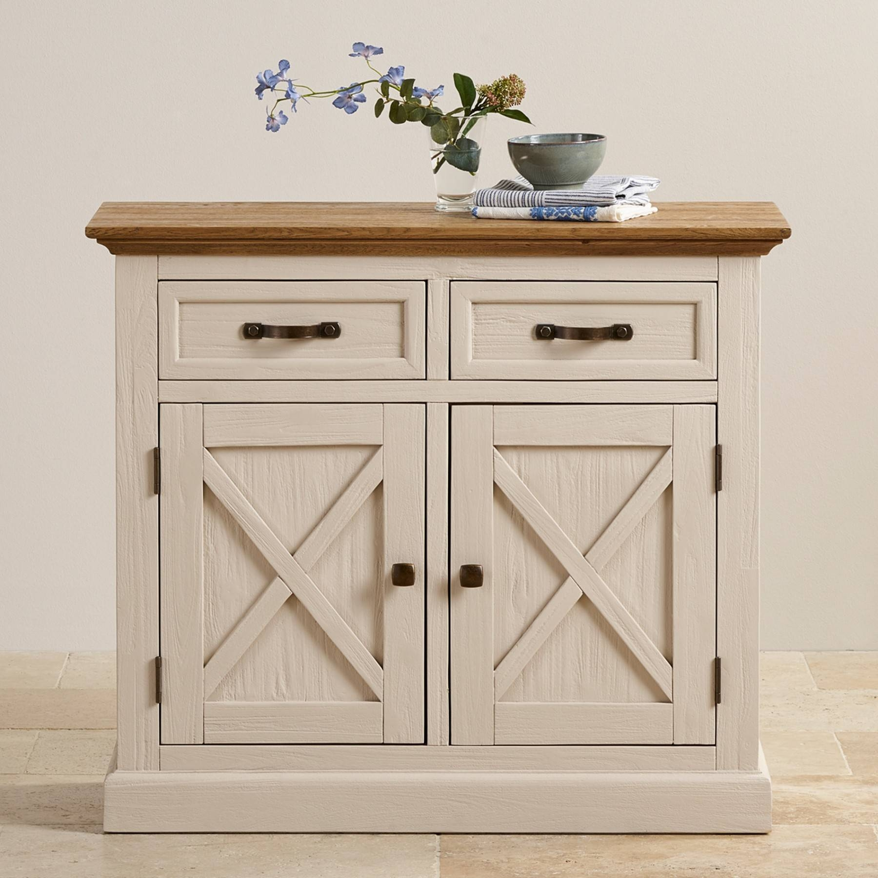 Seychelles Painted And Brushed Solid Oak Small Sideboard Oak Throughout Most Recently Released Solid Oak Small Sideboards (View 15 of 15)