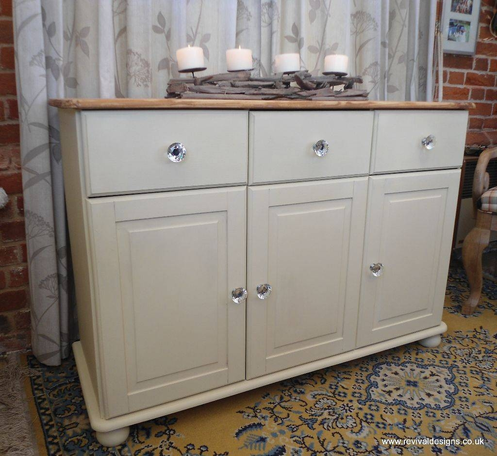 Shabby Chic Solid Pine Cream Sideboard With 3 Drawers | Revival Inside Latest Shabby Chic Sideboards (#13 of 15)