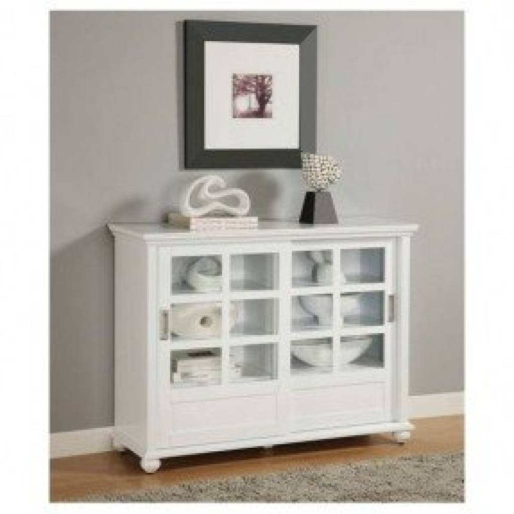 Sideboard Buffet Cabinet With Glass Doors Foter With Regard To Pertaining To Most Current White Sideboards With Glass Doors (#7 of 15)