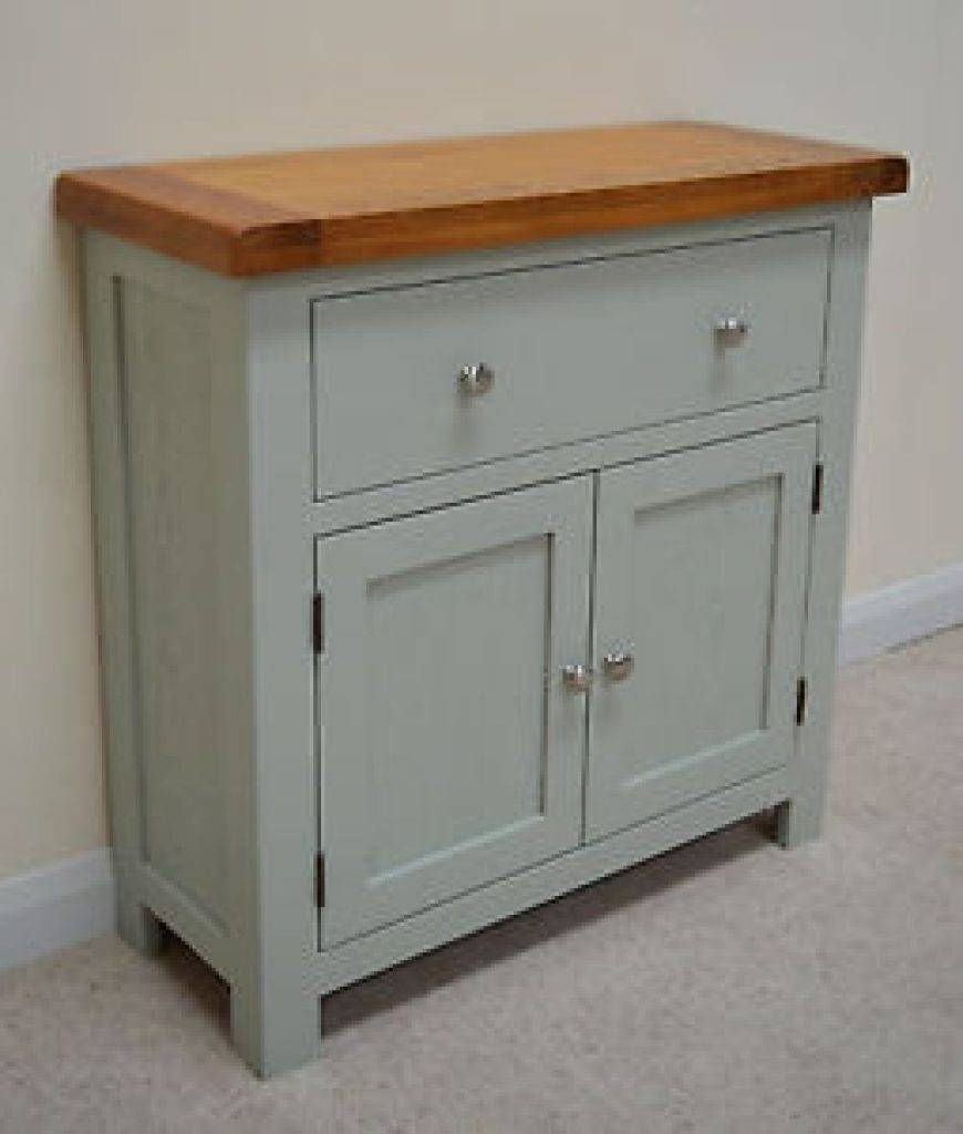 Sideboard Camborne Painted Oak Mini Sideboard / Compact Storage In With 2017 Sage Green Sideboards (#6 of 15)