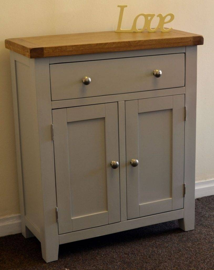 Sideboard Dorset French Grey Painted Oak Pine 2 Door Slim Within Most Current Slim Oak Sideboards (#4 of 15)