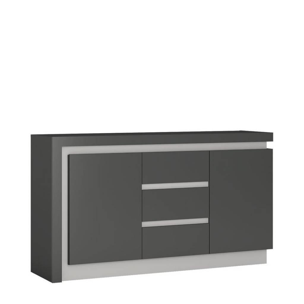 Sideboard Grey High Gloss 2 Door 3 Drawer Sideboard Homegenies Within 2017 High Gloss Grey Sideboards (View 4 of 15)
