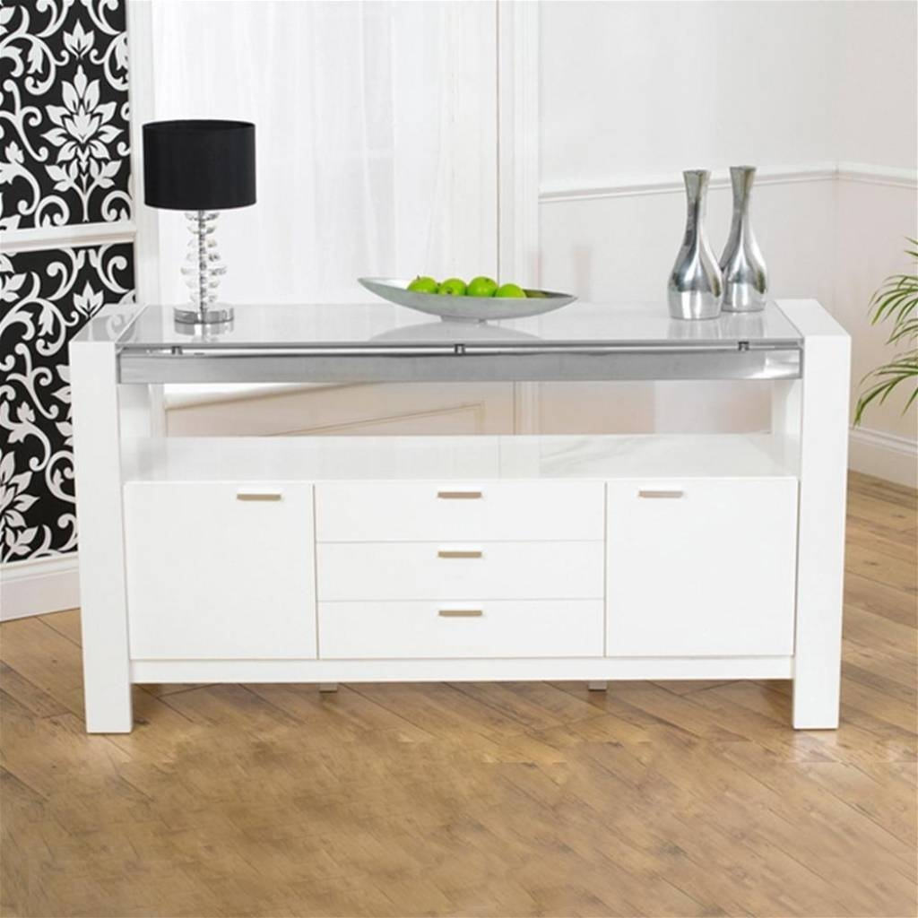 Sideboard Mark Harris Sophia White High Gloss Sideboard | Internet Within Most Up To Date Sideboards With Lights (View 12 of 15)
