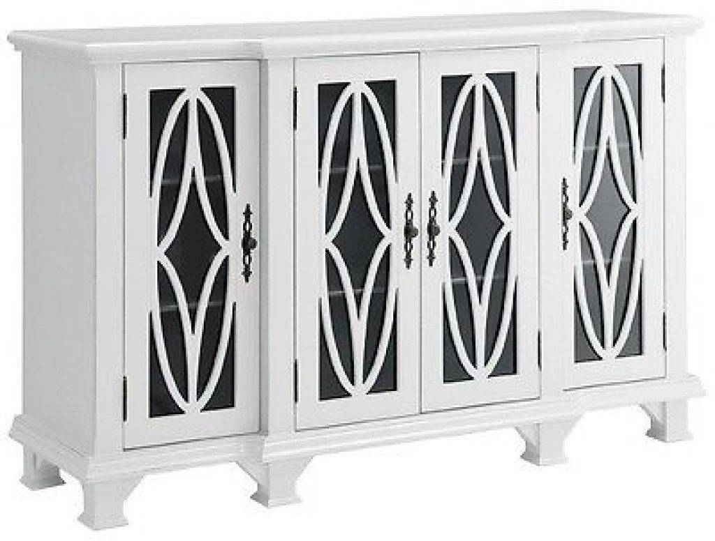 Sideboard Modern Accent Buffet Credenza Sideboard 4 Glass Door With Regard To Latest White Sideboards With Glass Doors (#10 of 15)