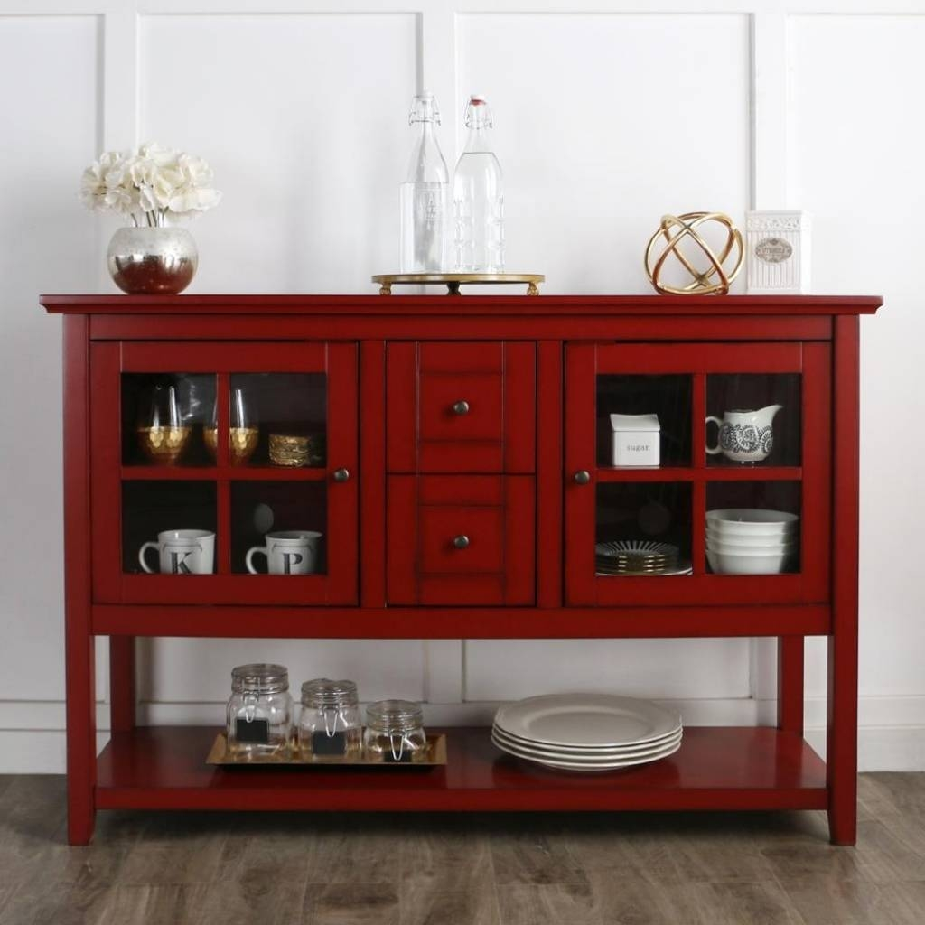 Sideboard Walker Edison Furniture Company Antique Red Buffet With Pertaining To Most Popular Red Buffet Sideboards (#12 of 15)