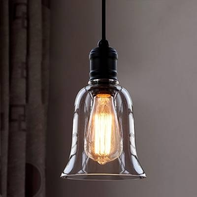Single Light Led Mini Pendant With Clear Bell Glass Shade Inside 2017 Shades Glass Mini Pendant Light (#15 of 15)