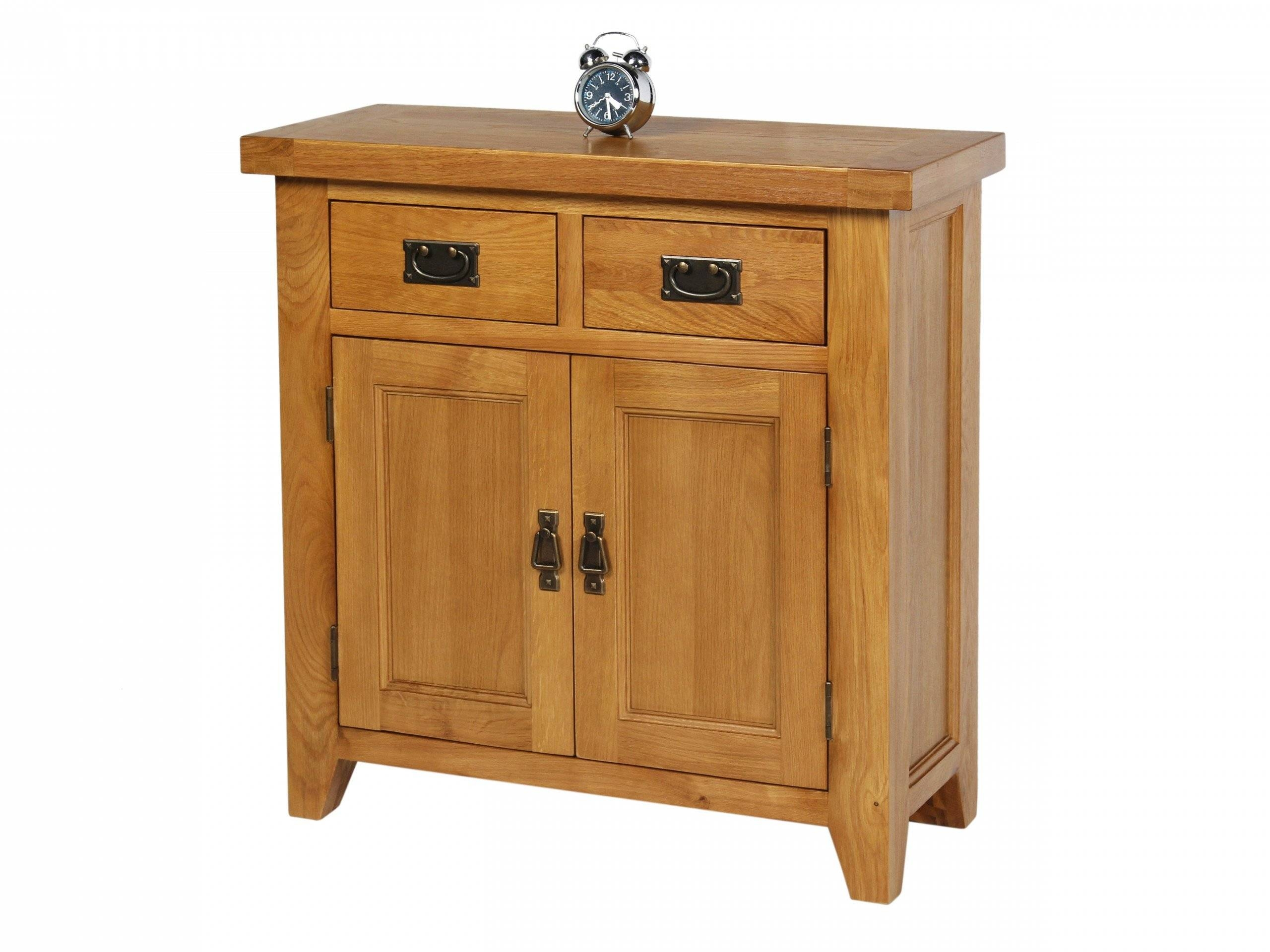 Small 80Cm Wide Country Oak Petite Sideboard In Most Up To Date Dovetail Sideboards (#14 of 15)