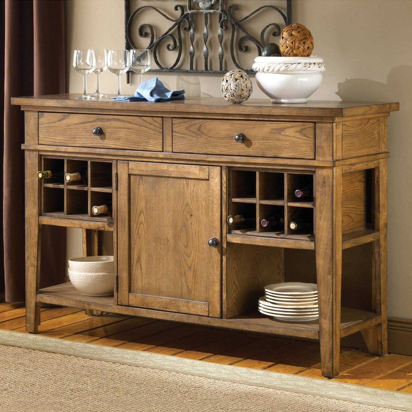 Small Wine Buffet Cabinetent Awesome Solid Oak Dining Room Buffets Inside 2018 Buffet Sideboards (#14 of 15)