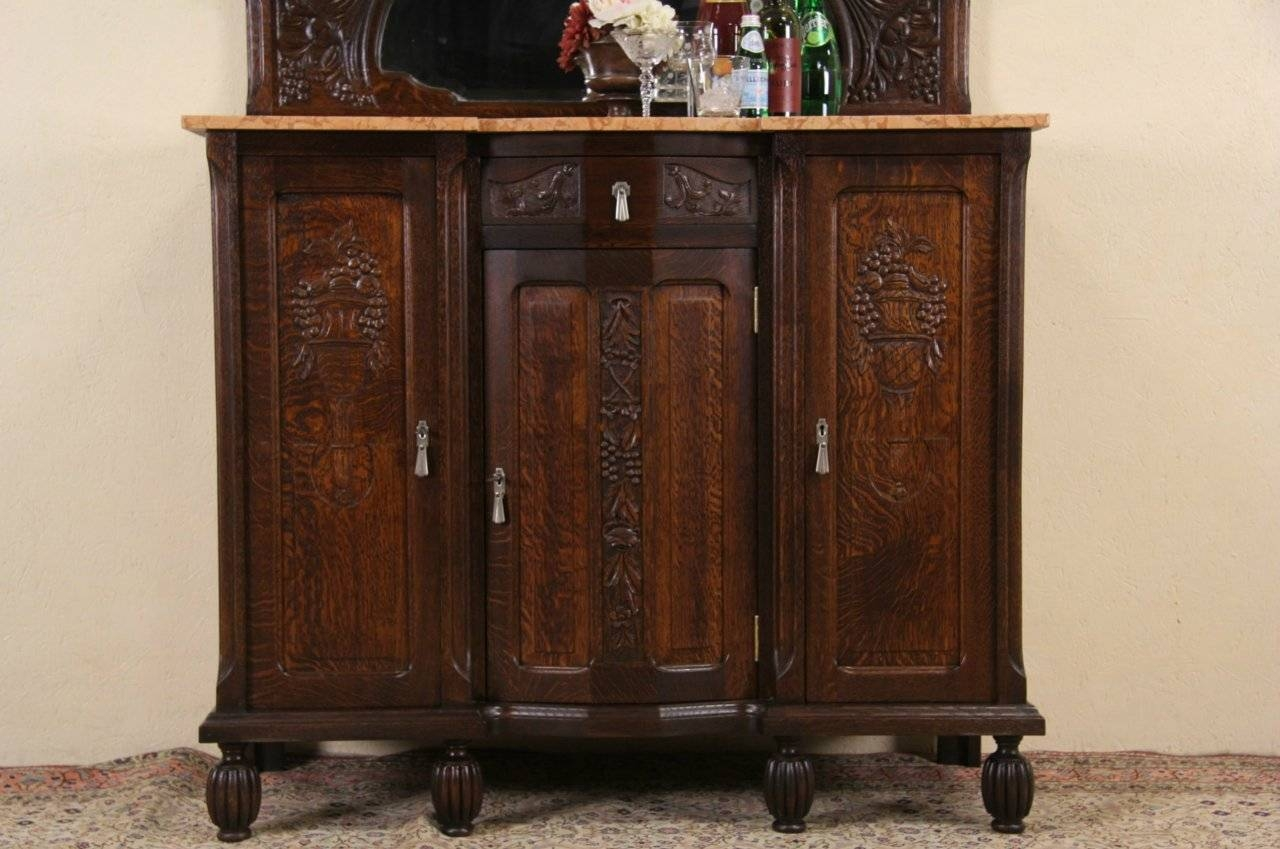 Sold – Art Deco 1925 Antique Marble Top Oak Sideboard, Server, Bar Intended For Best And Newest Antique Marble Top Sideboards (#12 of 15)