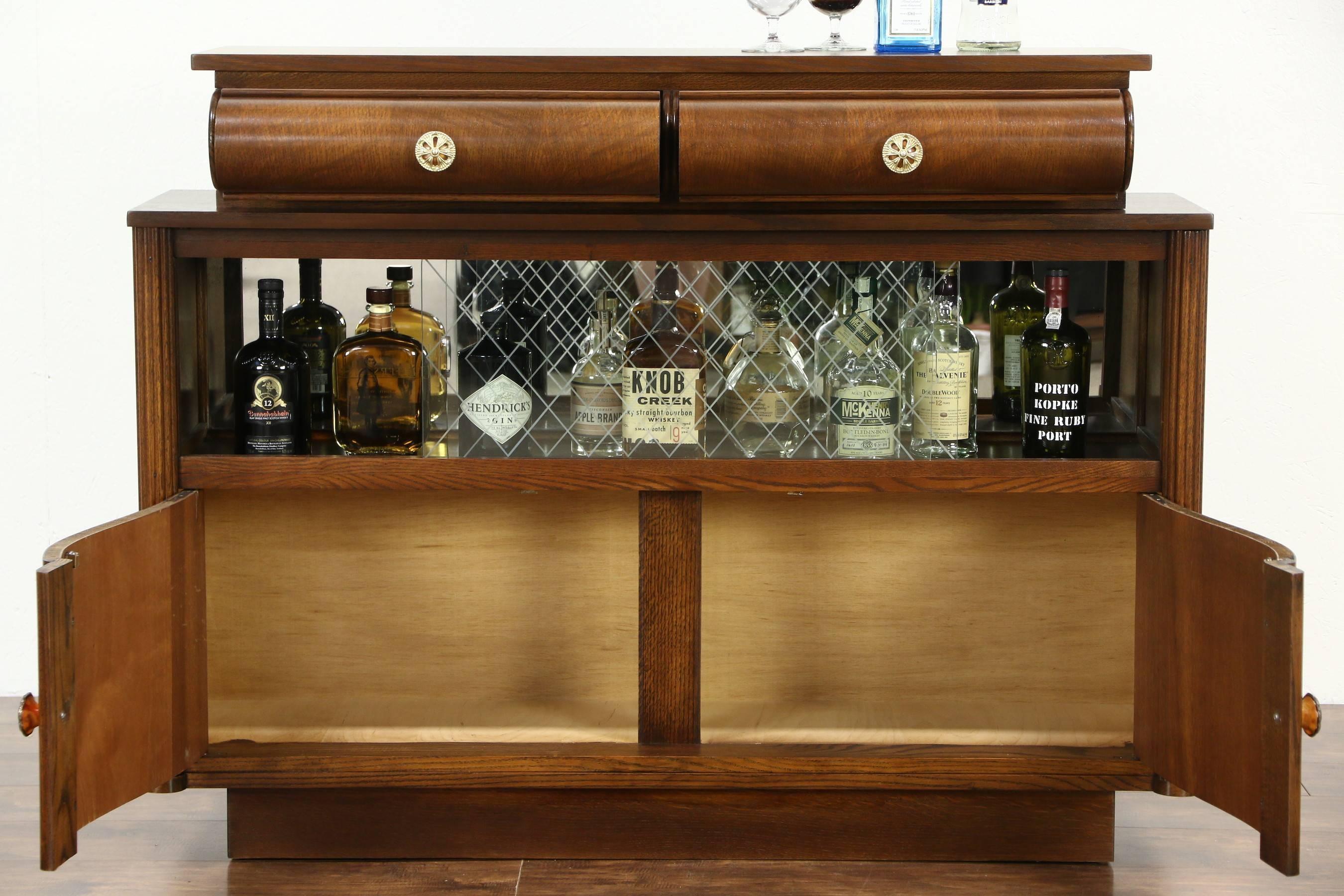 Sold – Art Deco Oak Vintage Scandinavian Sideboard, Bar Cabinet Inside Most Up To Date Sideboard Bar Cabinet (View 3 of 15)