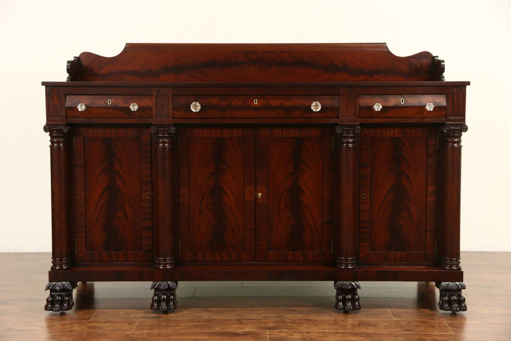 Sold – Empire Carved Mahogany 1900 Antique Sideboard, Server Or Regarding 2018 Antique Sideboard Buffets (#11 of 15)