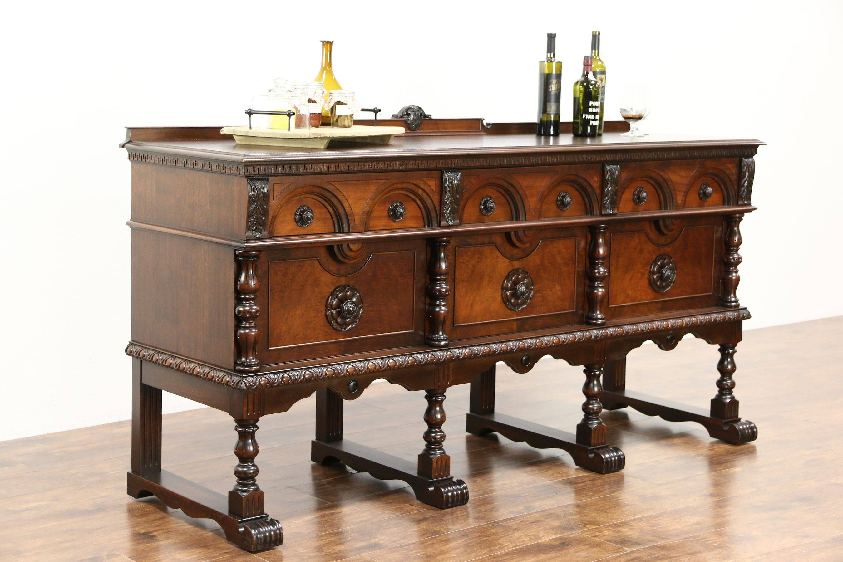 Sold – English Tudor 1925 Antique Walnut Carved Sideboard, Server With Regard To Most Recent Antique Sideboards (#15 of 15)