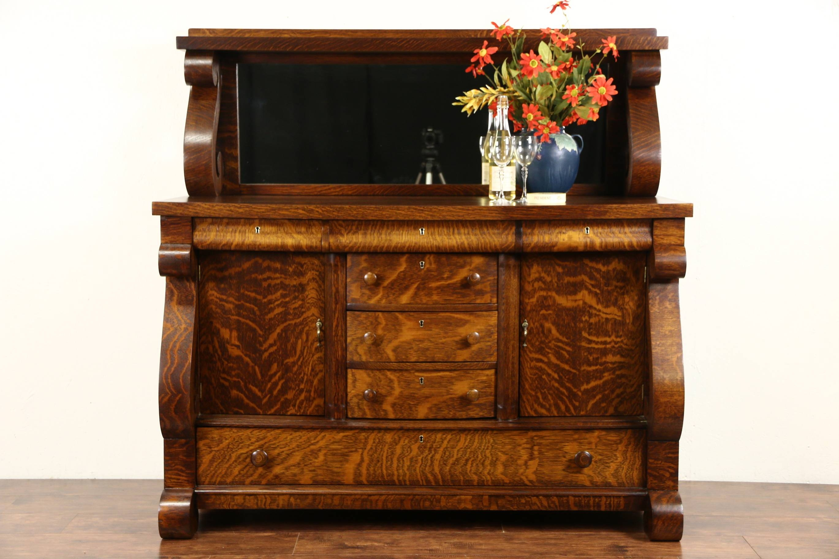 Sold – Oak 1910 Antique Empire Sideboard, Server Or Buffet, Mirror Throughout Recent Antique Sideboards With Mirror (#14 of 15)
