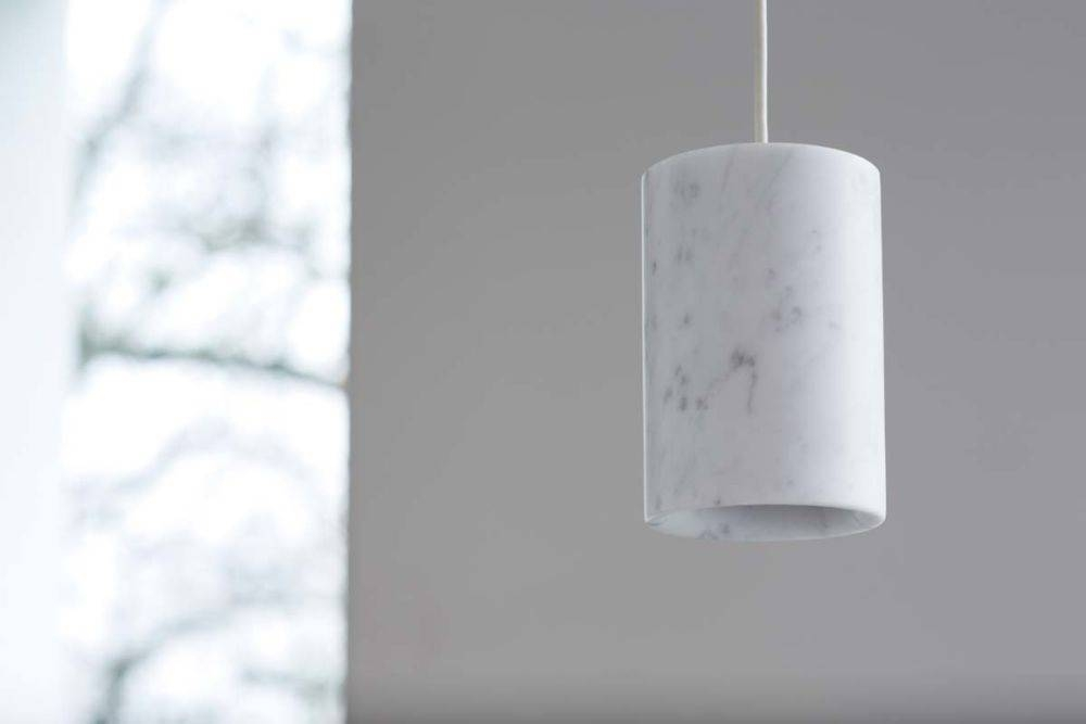 Solid Cylinder Pendant Light Carrara Marbleterence Woodgate For 2018 Cylinder Pendant Lights (View 14 of 15)