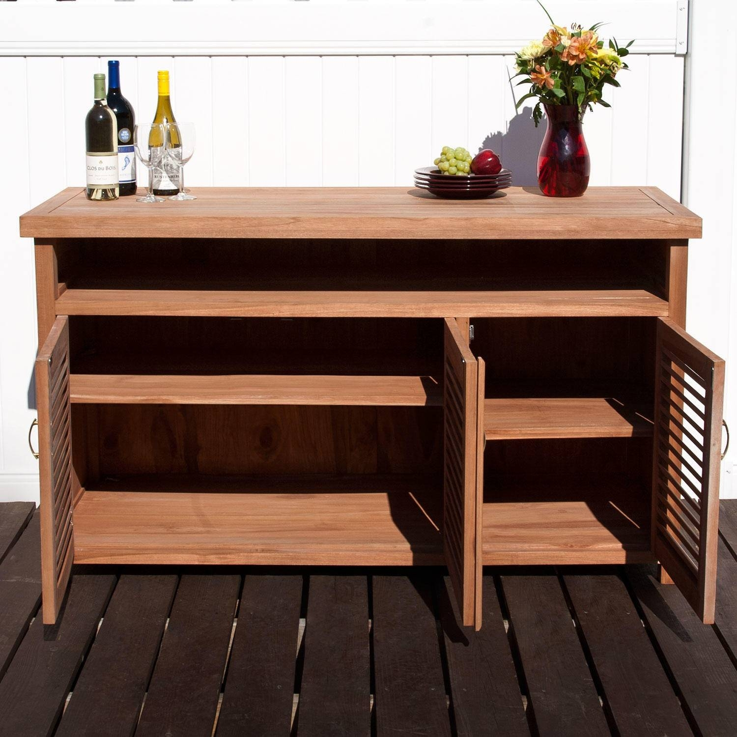 Teak Outdoor Buffet With Storage – Outdoor In Newest Outdoor Sideboard Cabinets (#13 of 15)