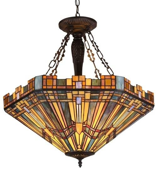Tiffany Style Mission Inverted Pendant/ceiling Fixture – Craftsman For Newest Inverted Pendant Lighting (#15 of 15)