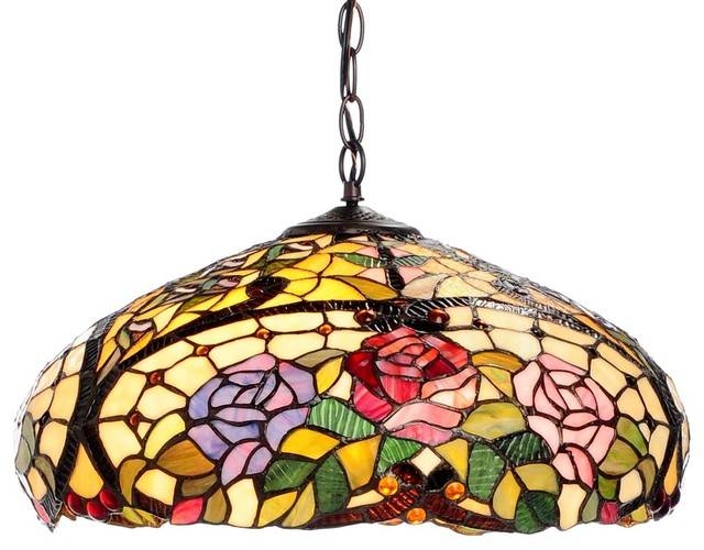 Tiffany Style Rose Floral Hanging Fixture – Craftsman – Pendant Intended For Newest Tiffany Style Pendant Light Fixtures (#15 of 15)
