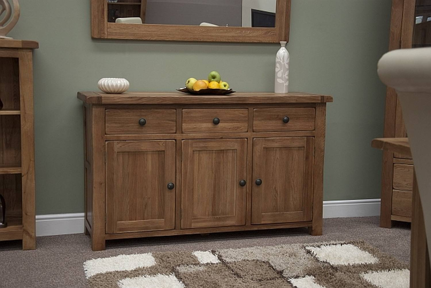 Tilson Solid Rustic Oak Dining Living Room Furniture Large Storage For Most Up To Date Sideboard Furniture (#14 of 15)