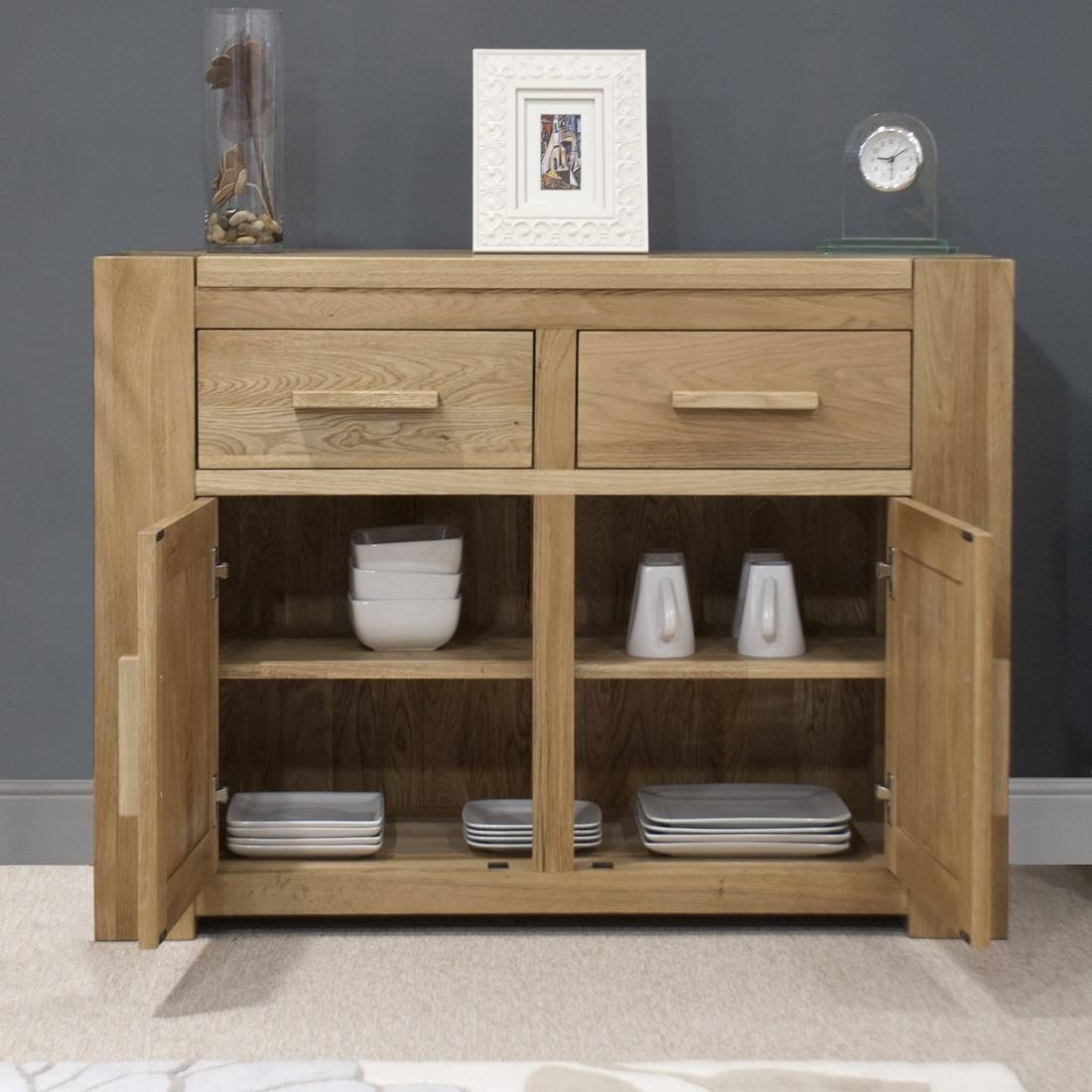 Trend Solid Oak Small 2 Door Sideboard | Oak Furniture Uk Throughout Most Popular 2 Door Sideboards (#14 of 15)