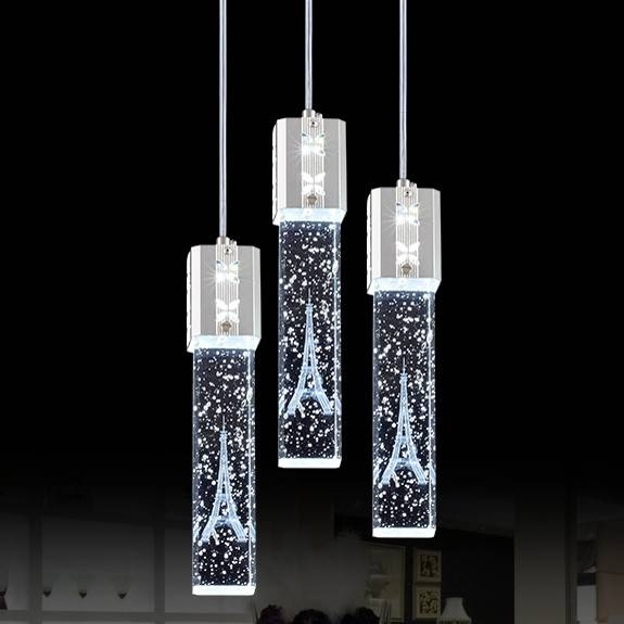 Triple Crystal Bubble Shade Led Ceiling Pendant Light Fixture With Regard To Most Popular Bubble Pendant Light Fixtures (#15 of 15)