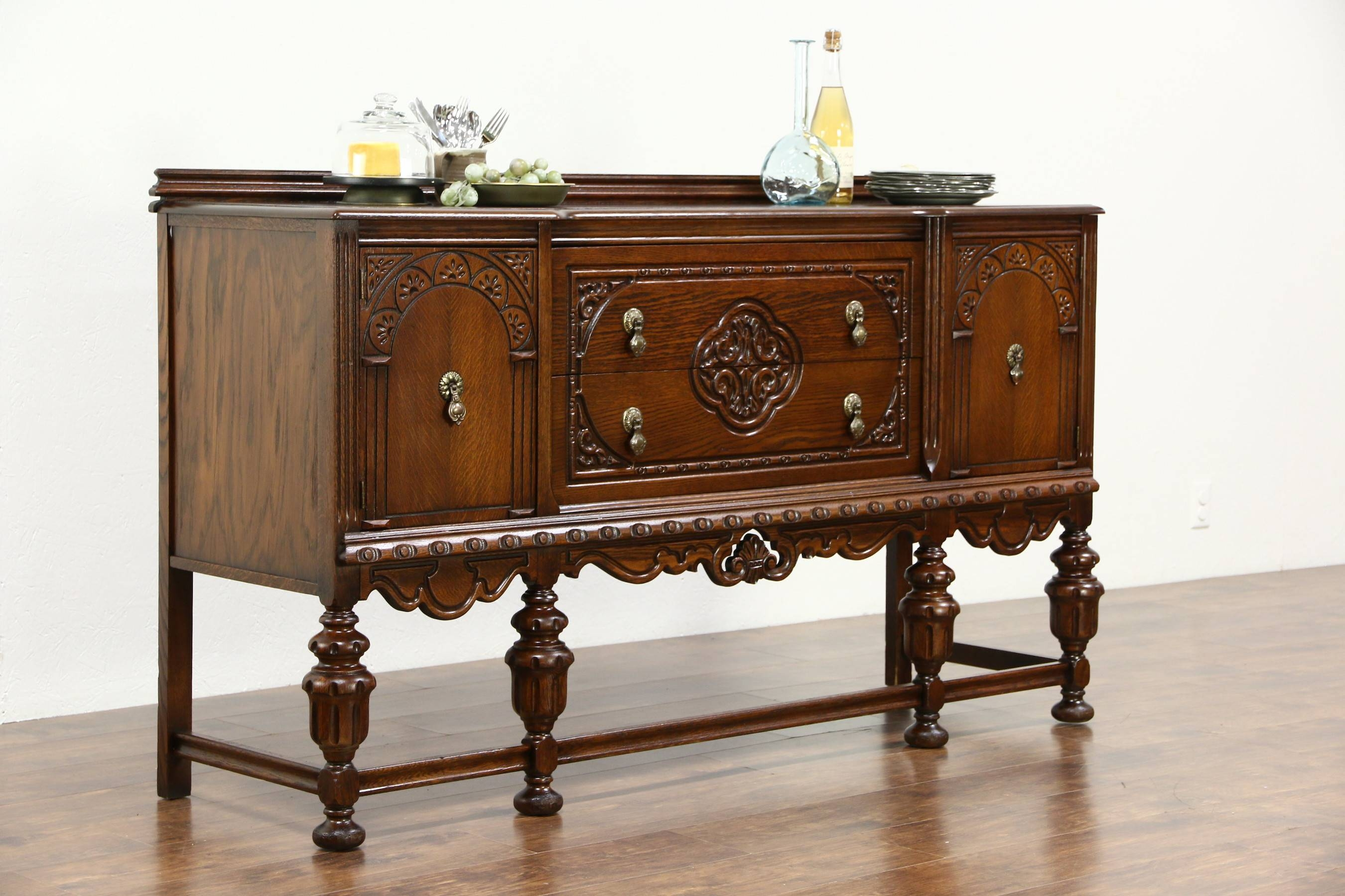 Tudor Design 1925 Antique Carved Oak Sideboard, Server Or Buffet Throughout Most Up To Date Antique Oak Sideboards (#12 of 15)