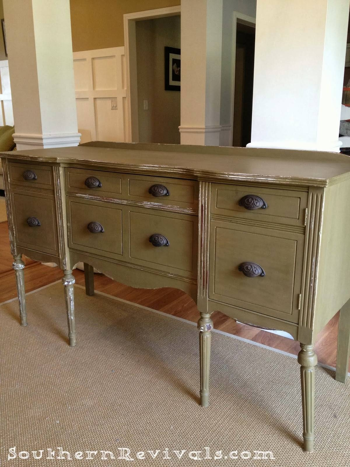 Updating A Vintage Sideboard Buffet With A Pop Of Color – Southern Regarding Current Antique Sideboards And Buffets (#14 of 15)