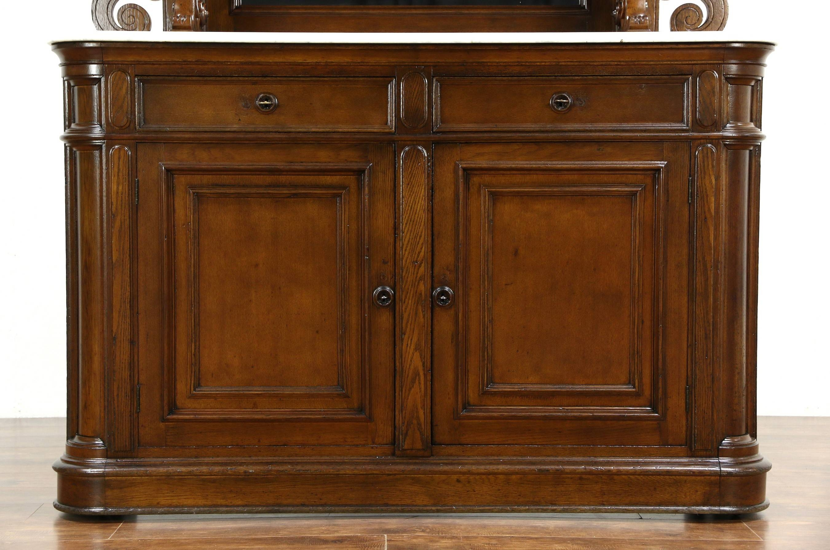 Victorian Grape Carved Oak Antique 1870 Sideboard, Server Or With Most Recently Released Sideboards With Marble Tops (#15 of 15)