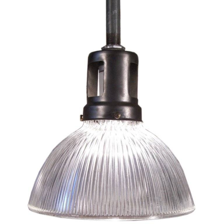 Vintage Industrial Holophane Glass And Steel Ceiling Hanging Within Current Industrial Glass Pendant Lights (#15 of 15)