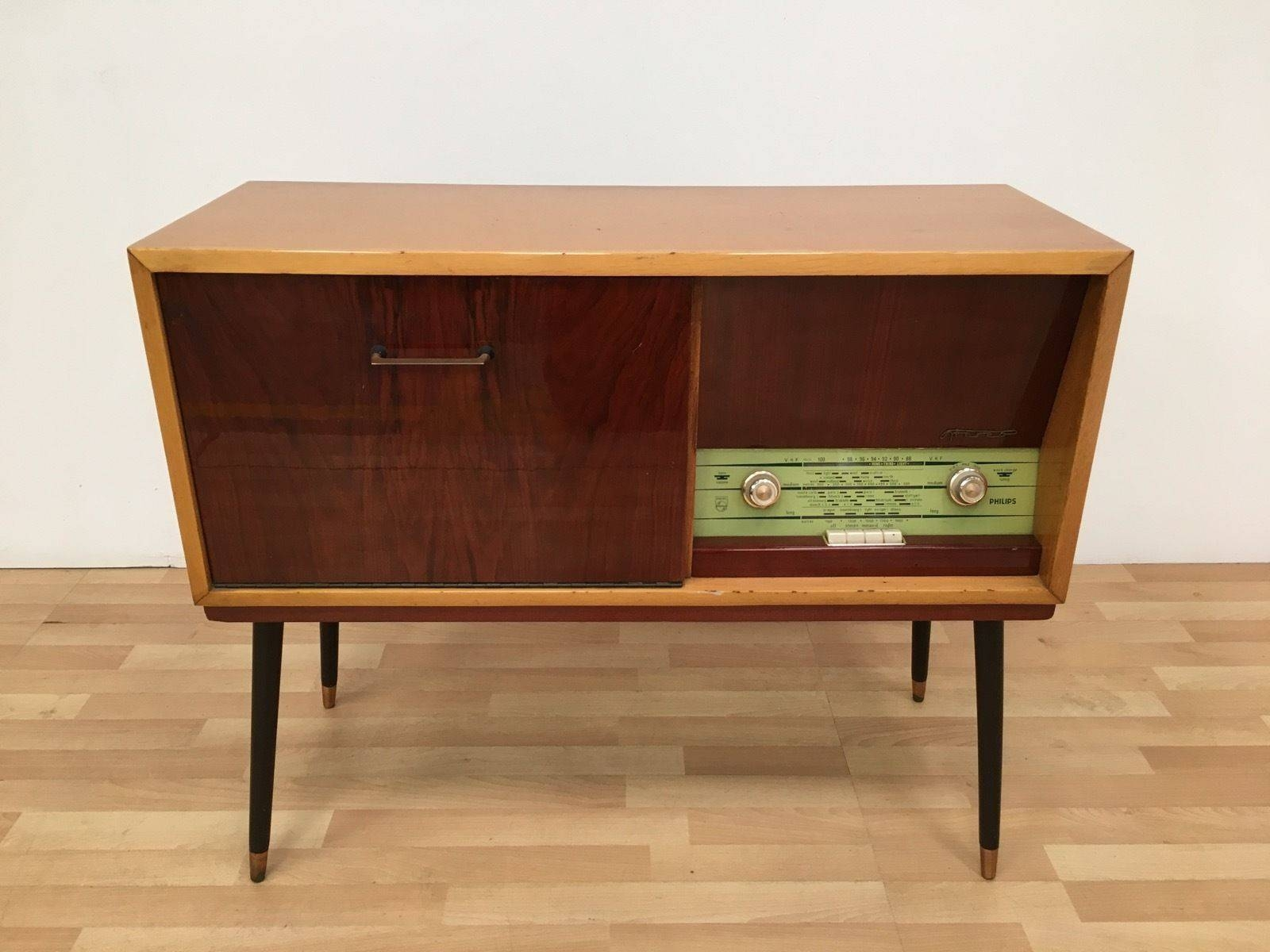 Vintage Retro Mid Century 50s 60s Philips Stereo Radiogram In Latest 50s Sideboards (View 3 of 15)