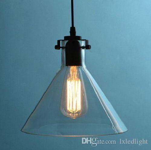 Vvintage Retro Big Diy Ceiling Lamp Light Glass Pendant Lighting With Most Recently Released Glass Pendant Lights With Edison Bulbs (#15 of 15)