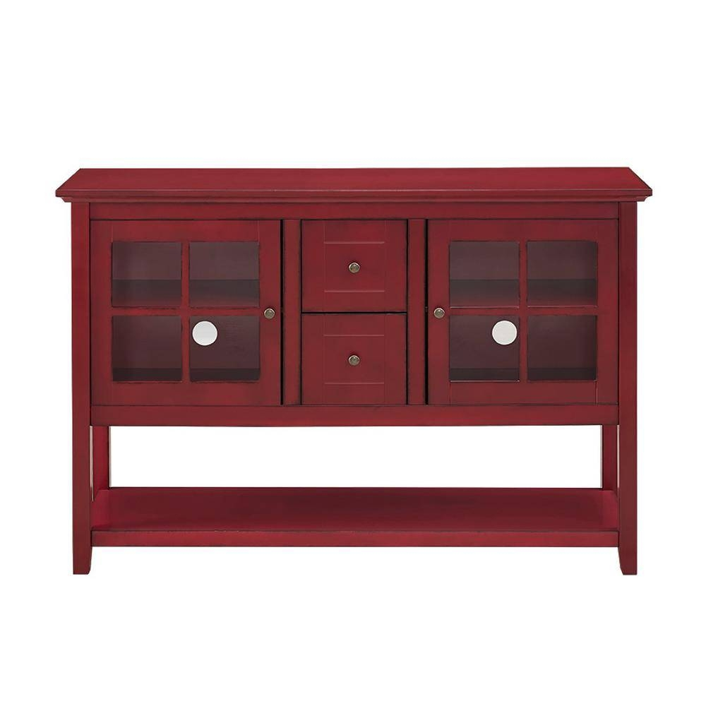 Walker Edison Furniture Company Antique Red Buffet With Storage Intended For 2018 Red Sideboards Buffets (#15 of 15)