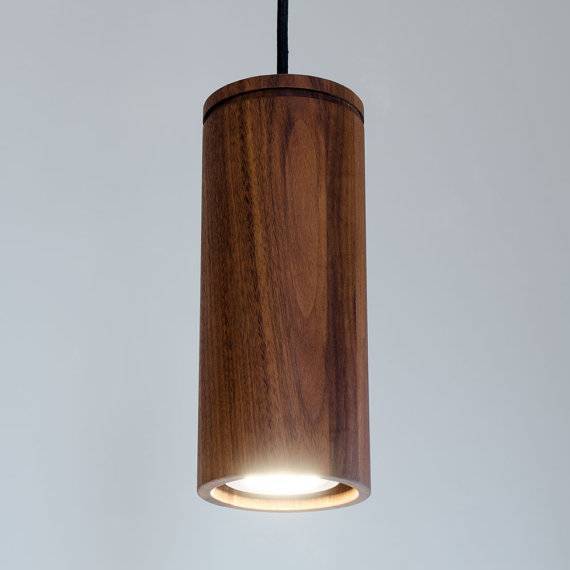 Walnut Cylinder Pendant Lamp Wood Pendant Light Brass And With Regard To Most Current Cylinder Pendant Lights (View 5 of 15)