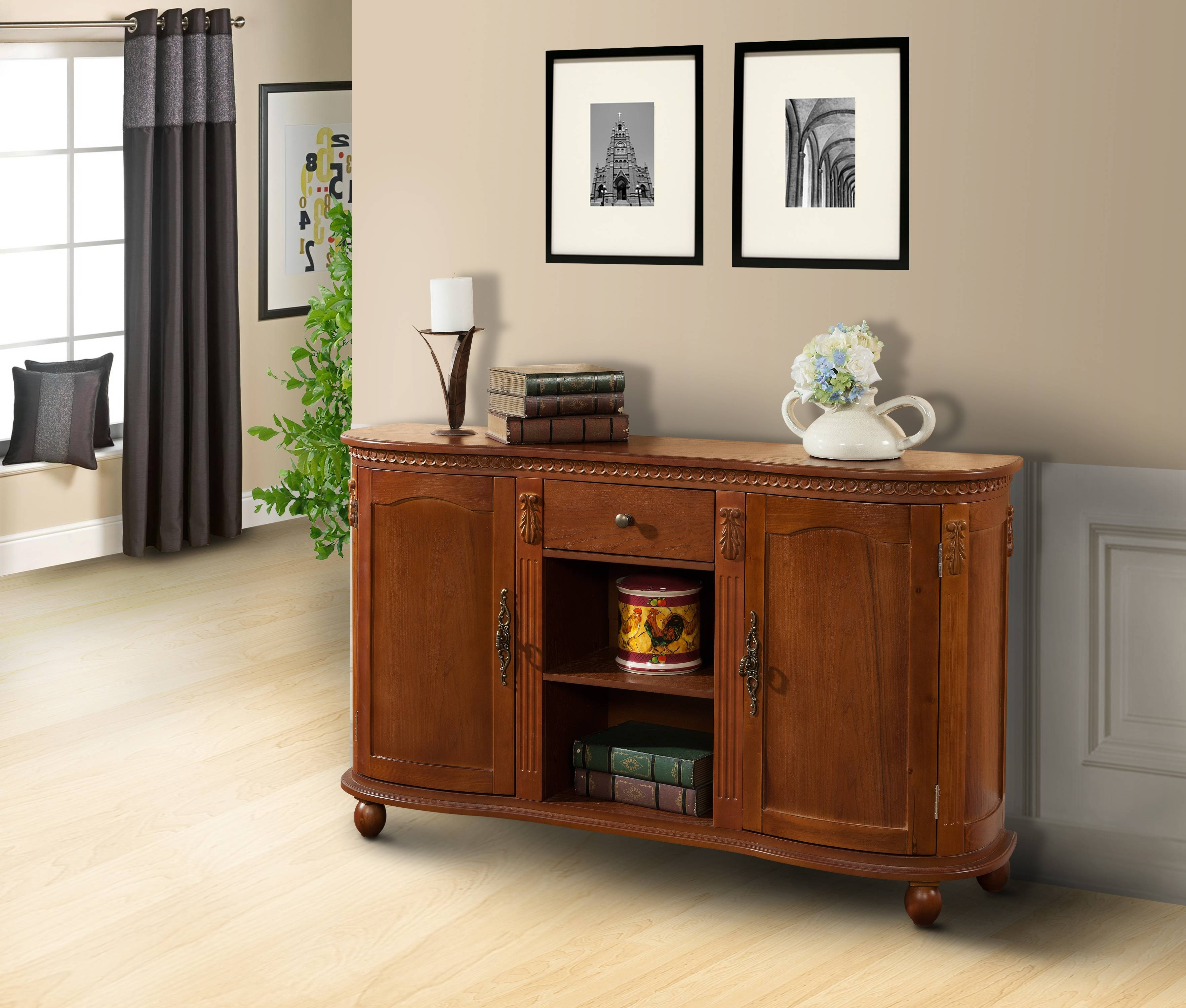 Walnut Wood Sideboard Buffet Console Table With Storage Drawer In Most Current Buffet Console Sideboards (#15 of 15)