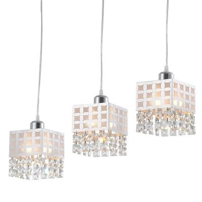 White Square Shade And Lovely Crystal Beads Add Charm To Stunning With Most Recent Beaded Pendant Light Shades (#15 of 15)