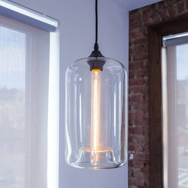 Windsor Heights Cylinder Glass Pendant With Vintage Bulb Intended For 2017 Cylinder Pendant Lights (View 8 of 15)