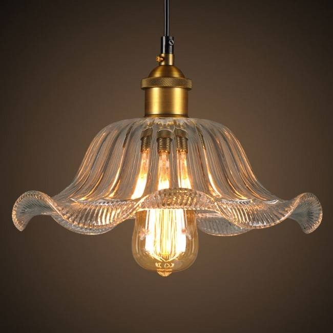 Winsoon Modern Vintage Industrial Hanging Glass Ceiling Lamp Regarding 2018 Flower Pendant Lights (#14 of 15)