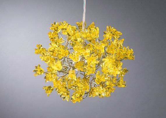 Yellow Flowers Hanging Lights For Hall Bathroom Bedside Inside 2017 Flower Pendant Lights (#15 of 15)