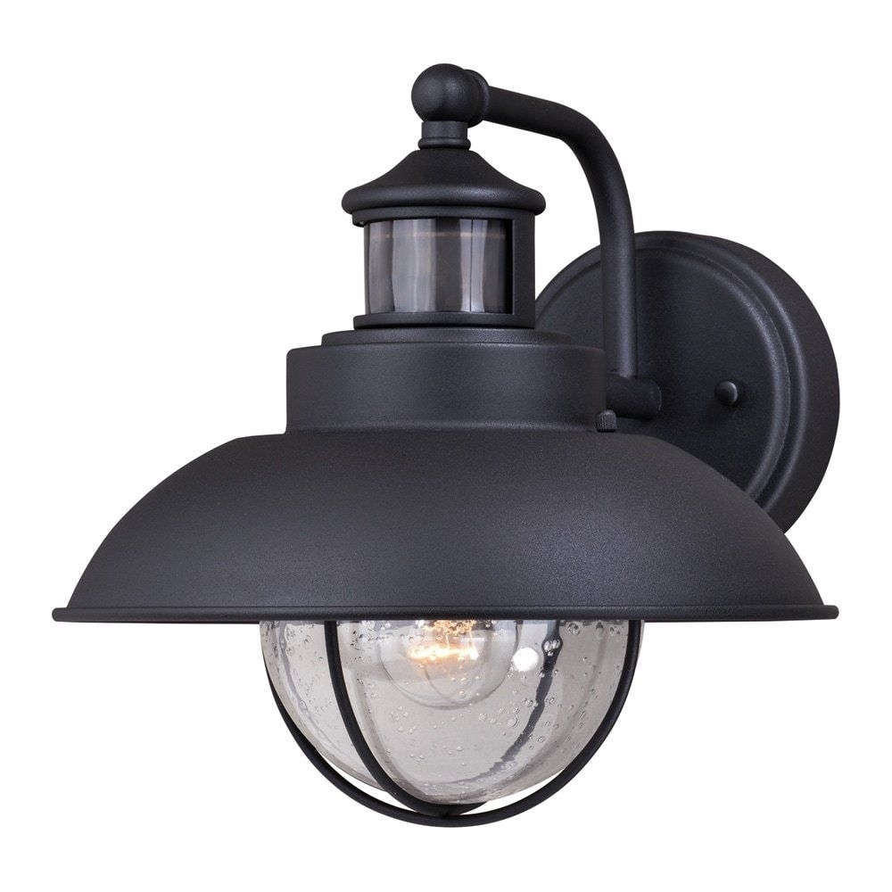 "Inspiration about 10"" Black Nautical Outdoor Wall Light Dusk To Dawn Motion Sensor Inside Outdoor Wall Lighting With Dusk To Dawn (#13 of 15)"