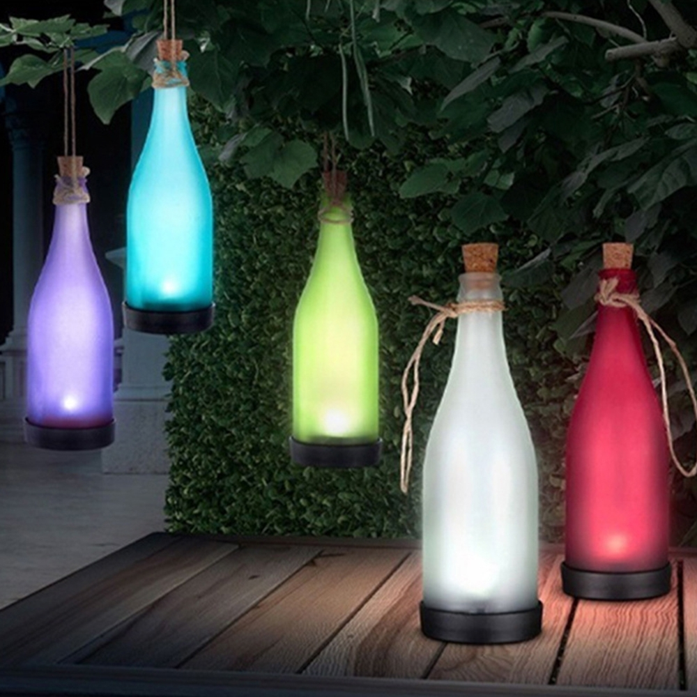 Inspiration about 1Pc Cork Wine Bottle Led Solar Powered Sense Light Outdoor Hanging Regarding Outdoor Hanging Bottle Lights (#7 of 15)