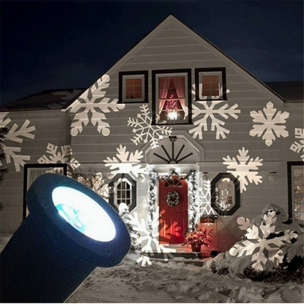 1X Outdoor Snowflake Led Projector Wall Lamp Landscape Light Holiday Within Outdoor Wall Xmas Lights (#2 of 15)