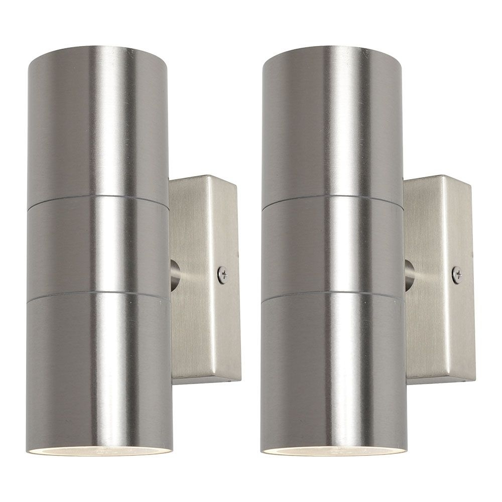 Inspiration about 2 Pack Of Kenn Up & Down Light Outdoor Wall Light – Satin Chrome Within Outdoor Wall Down Lighting (#5 of 15)