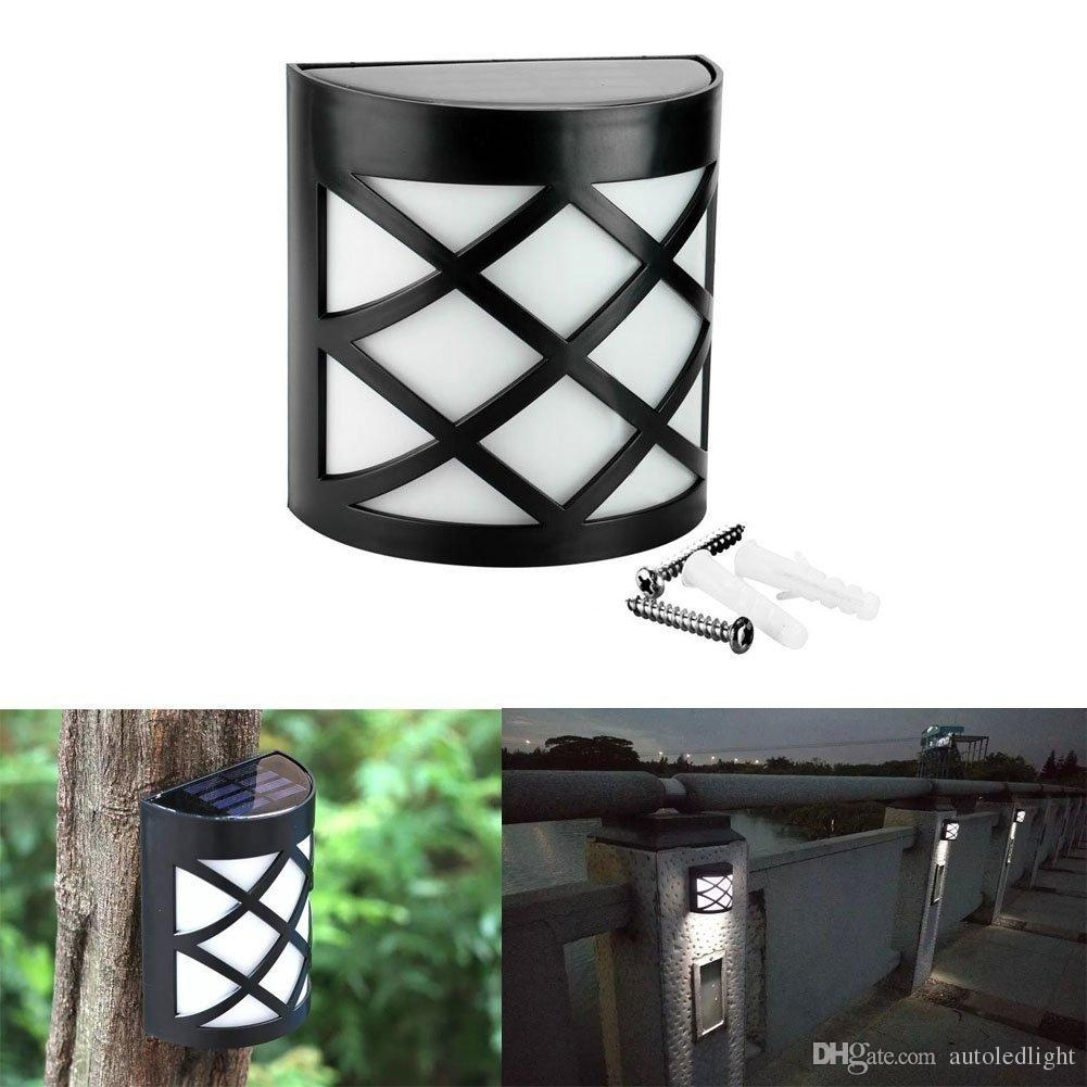 Inspiration about 2018 6 Led Solar Powered Outdoor Path Light Yard Fence Gutter Garden Throughout Solar Powered Outdoor Wall Lights (#5 of 15)