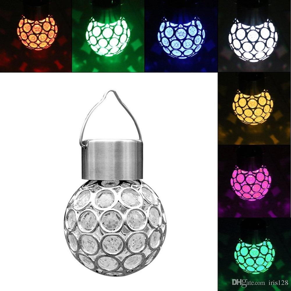 2018 Solar Lamps Plastic Hanger Round Mini Led Hanging Lamp Colorful Inside Outdoor Plastic Hanging Lights (#1 of 15)