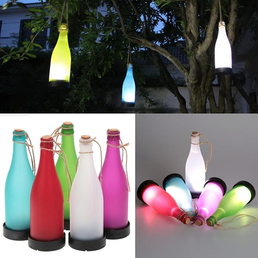 Inspiration about 2018 Wholesale /sets Cork Wine Bottle Led Solar Powered Sense Light With Regard To Outdoor Hanging Bottle Lights (#8 of 15)