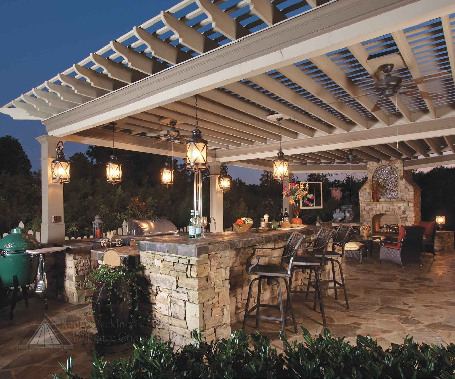 Inspiration about 22 Outdoor Kitchen Design Ideas | Pergolas, Kitchens And Pendant For Outdoor Ceiling Lights For Patio (#14 of 15)