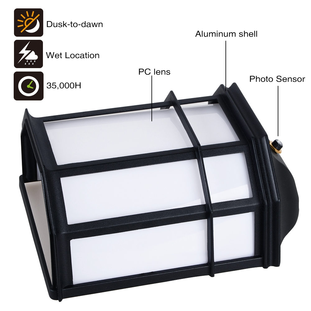 Inspiration about 23W Outdoor Dusk To Dawn Led Wall Light – Torchstar Inside Outdoor Wall Lighting With Photocell (#11 of 15)